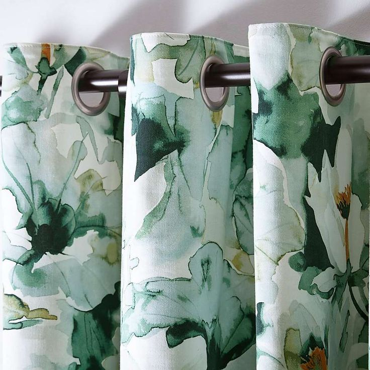 Waterlily Green Eyelet Curtains | Dunelm