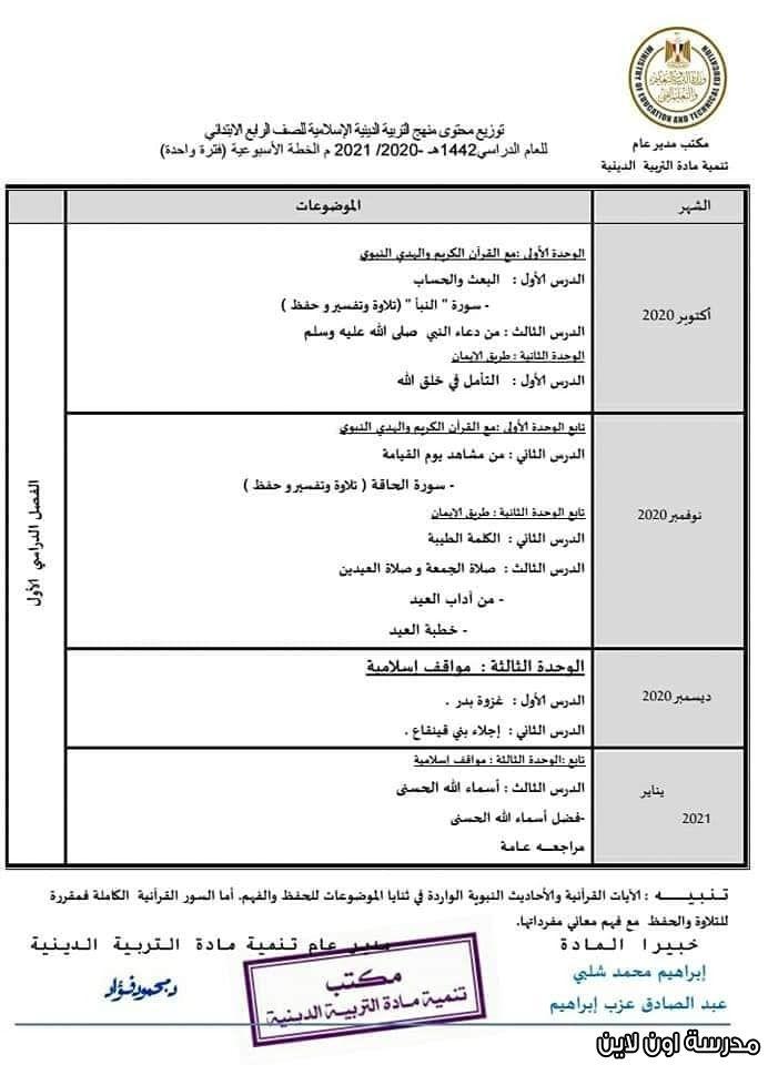 توزيع منهج التربية الدينية لرابعة ابتدائي الترم الأول 2021 Online