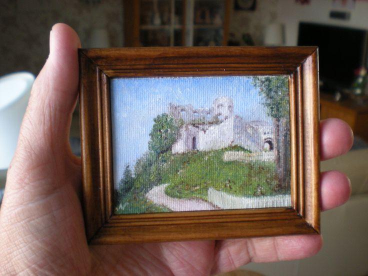 Het dorpje Reute in Oostenrijk. Het schilderijtje is 6x8 cm Olie
