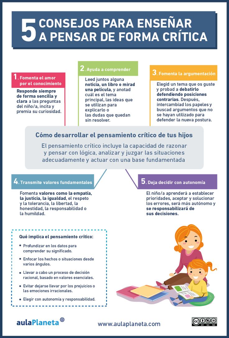 Cómo enseñar a pensar de forma crítica a los niños ✿ Teaching languages / Education / eLearning / Learning Languages / Learning techniques / Learning Tips / Spanish Language  ✿ Pin for later!