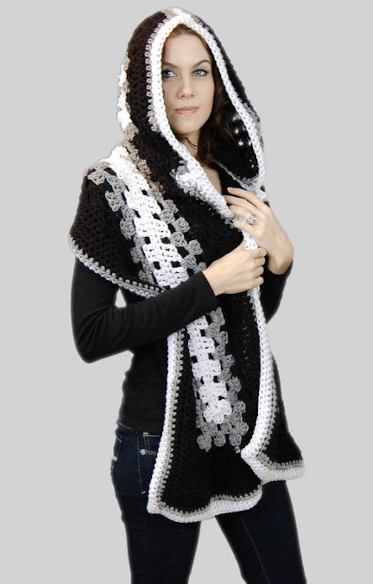 [Free Crochet Pattern] A New Twist On Traditional Granny To Make A Wonderful Hoodie Scarf
