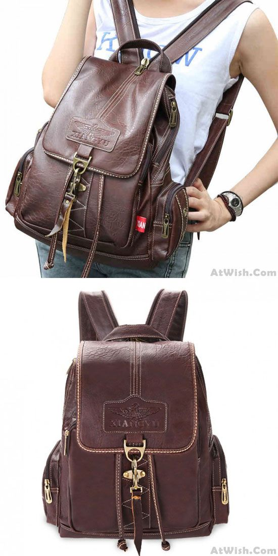Retro Brown Button Preppy Backpack School Bag rucksack for big sale! #backpack #school #brown #retro #preppy #button #bag