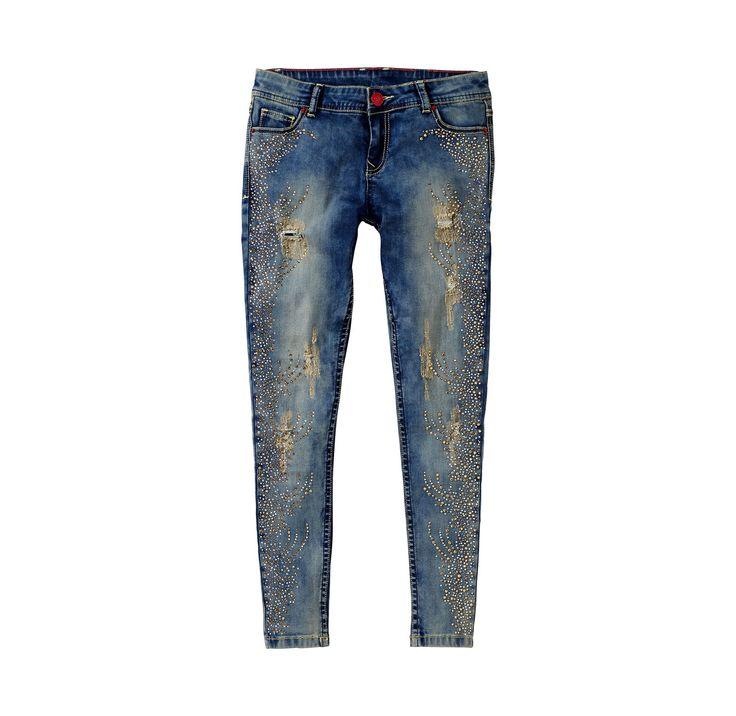 Damen-Jeans mit Straßsteinchen im Used-Look (leider nur bis Gr. 42...)