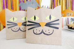 Create cute little Cat Goodie Bags to hold candy & tiny presents. #washitape