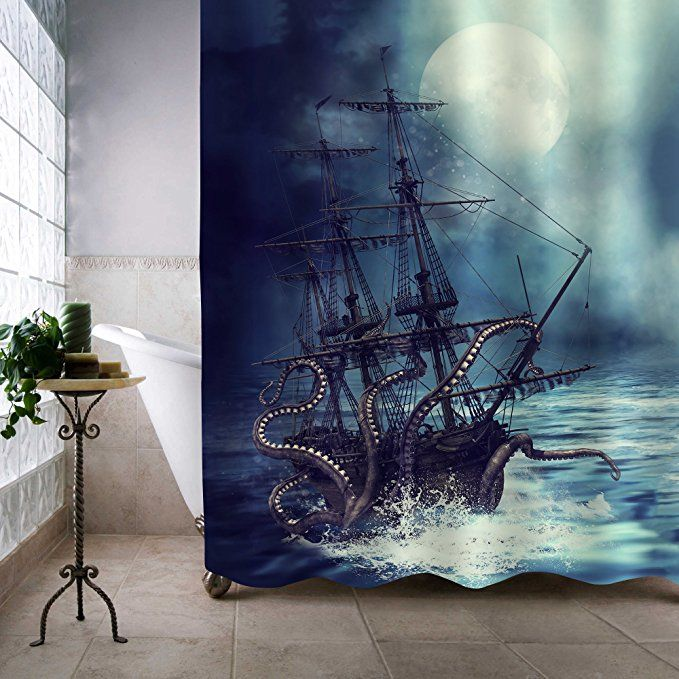 Mitovilla Giant Octopus Kraken Attack Nautical Sailboat Shower