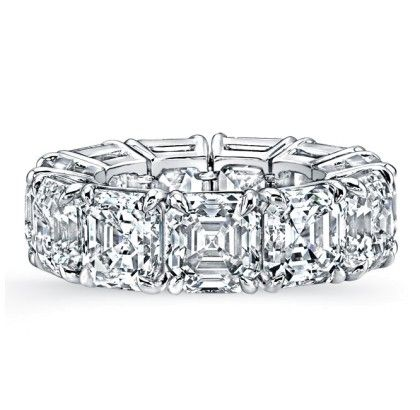 Asscher (Square Emerald cut) diamond shared prong eternity band - Ladies Bands - Wedding Bands - Fine Jewelry