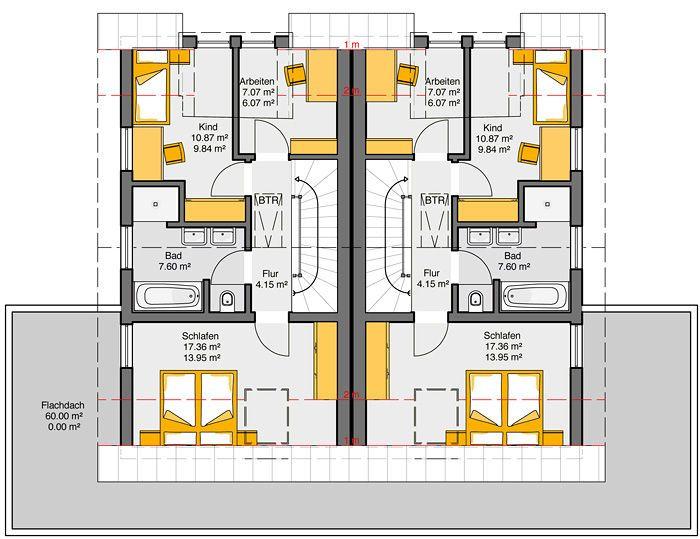 Fertighaus Doppelhaus Gemello SD 136 Grundriss OG
