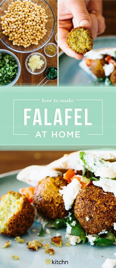 How to Make the Best Authentic Homemade Falafel. This DELICIOUS wholesome and healthy vegan recipe is perfect if you're looking for new ideas for dinners and meals for families. We recommend using dried chickpeas over canned. Don't skip the tahini sauce! You'll need chickpeas, scallions, garlic, parsley, olive oil, lemon juice, cumin, coriander, baking powder, pita, tzatziki. Perfect if you're looking for recipes for your deep fryer for fried party appetizers and snacks!
