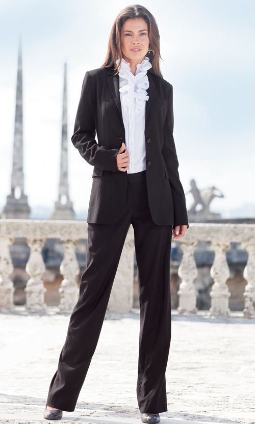 LEL Pinstripe Suit (Black Pinstripe) Tall Women's Clothes, Ladies ...