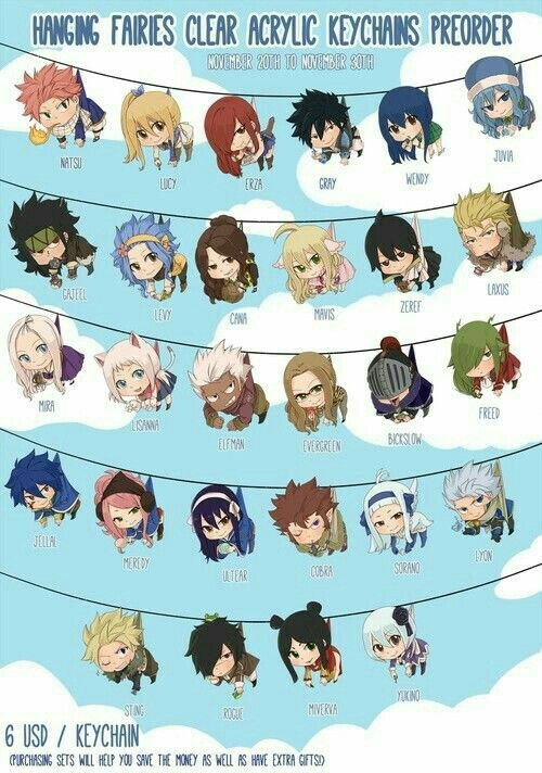 Fairy Tail characters, cute, chibi, keychains, text, Fairy Tail; Anime Stuff I Want