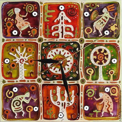 "Часы для дома ручной работы. Ярмарка Мастеров - ручная работа Часы ""Танцы с бубнами"". Handmade."