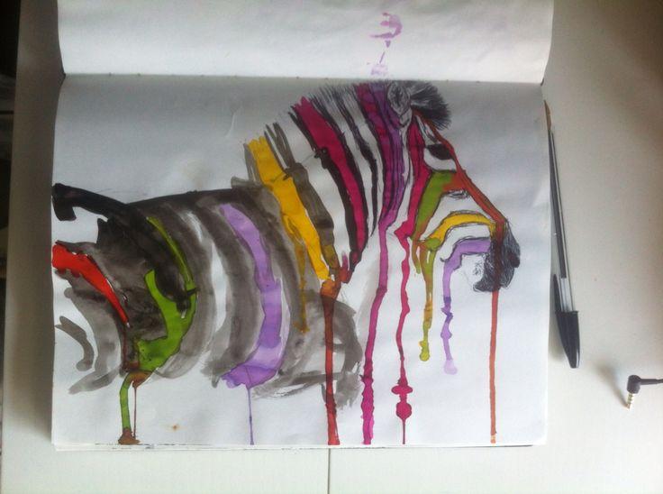 Zebra - pen en ecoline