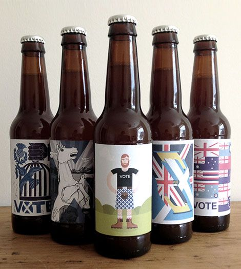 Scottish Referendum Beer September 18, 2014 | Designed by Various  Leading up to today's Scottish independence vote, Knops Beer has produced a limited edition beer featuring artwork from the poster exhibition Ballot Scotland.