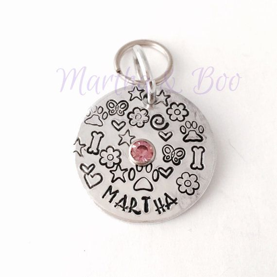 Dog ID tag pet identity dog tag hand stamped by MarthaAndBoo