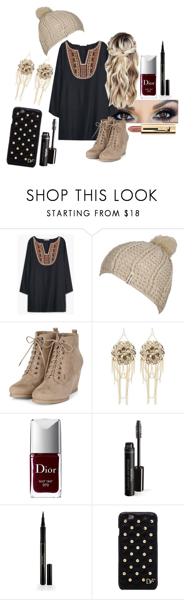 """""""Bo-ho Beauty"""" by thenextbigthing8357 ❤ liked on Polyvore featuring MANGO, Billabong, Bebe, Christian Dior, Elizabeth Arden and Diane Von Furstenberg"""