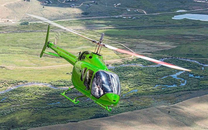 Download wallpapers Bell 505, 4k, civil aviation, Bell, Bell 505 Jet Ranger X