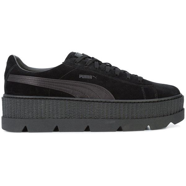 Fenty X Puma Cleated Creeper sneakers ($160) ❤ liked on Polyvore featuring men's fashion, men's shoes, men's sneakers, black, mens creeper shoes, puma mens shoes, puma mens sneakers, mens black leather sneakers and mens leather sneakers