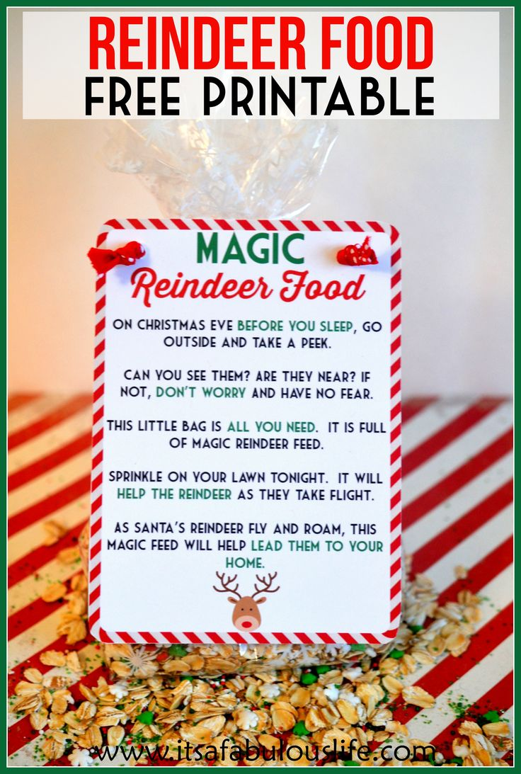 Magic Reindeer Food Poem & Free Printable - It's A Fabulous Life