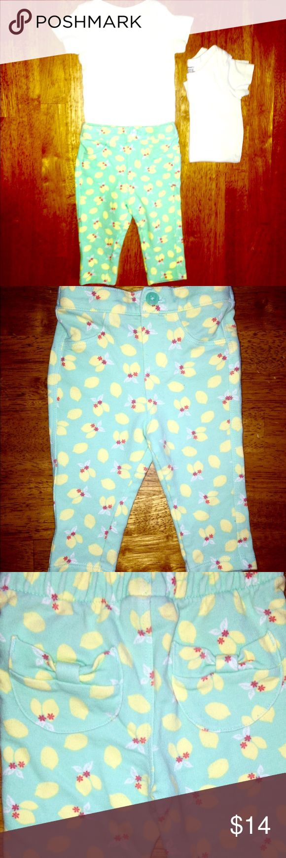 "Turquoise pantsW/Lemon print•soldW/2 White onesies ""Cherokee"" Light Turquoise pants w/ adorable Lemon print 🍋🍋🍋 There are two back pockets made of bows, as seen in photos. Super cute! These come with two Gerber onesies. Total of THREE pieces. 🍋✨EXCELLENT CONDITION✨🍋 Cherokee & Gerber Matching Sets"