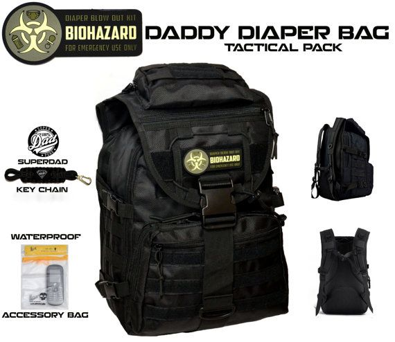 DADDY DIAPER BAG Super Dad Tactical Backpack with by CYCLONEXGEAR