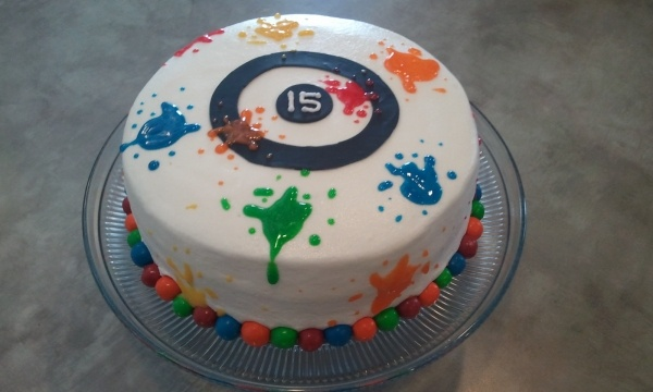 Easy paintball birthday cake
