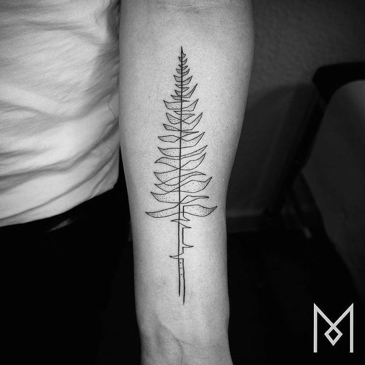 Tatouages minimalistes composés d'un seul Trait de Mo Gangi (7)