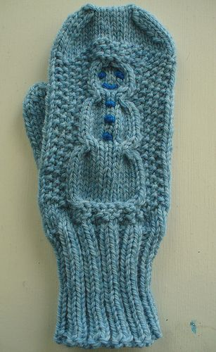 Cabled Snowman Mittens pattern by Jean Gifford