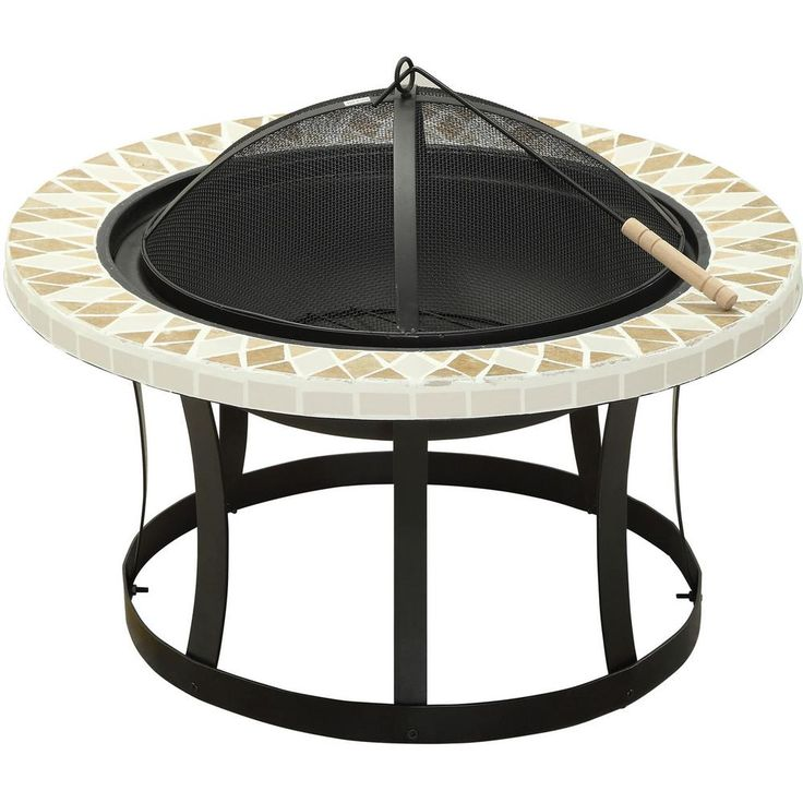 Venetian Worldwide Ardoch 30 in. Cast Iron Fire Pit with Triangle Tile Detailing, Black
