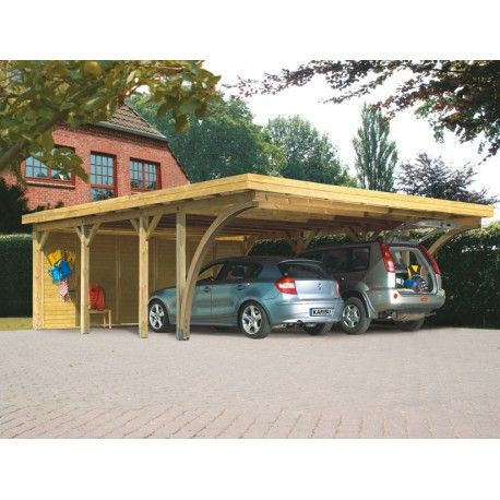 Carport pin autoclave 40,2m² Classic Double 2 + toit acier + 2 arcs Karibu