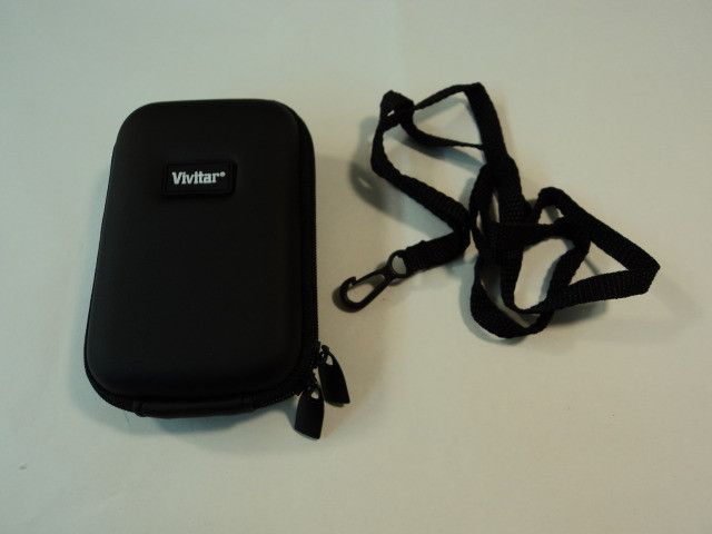 Vivitar Digital Camera Zip Up Camera Hard Case Black Faux Leather -- New