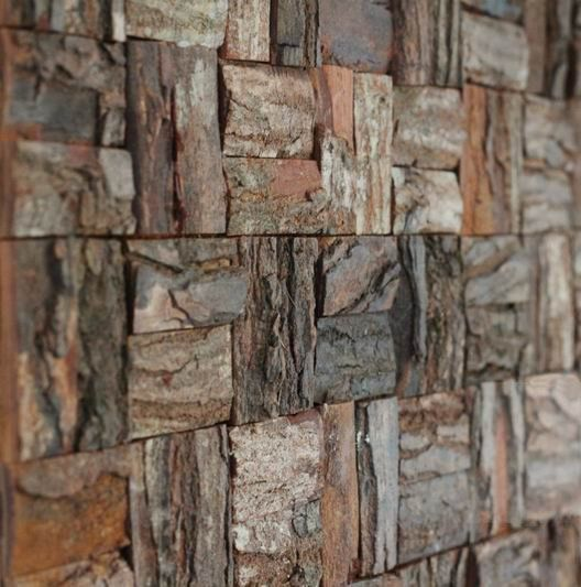 tree bark wall. So organic...just hope the panels are bug free!