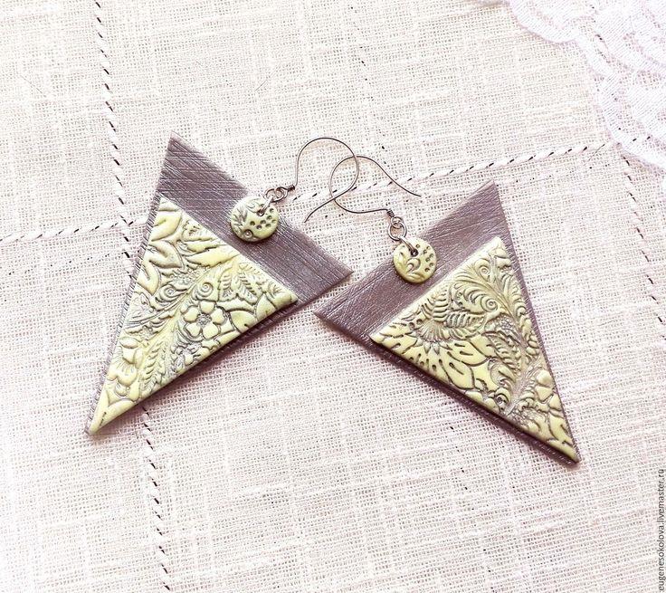 Купить Серьги треугольные из полимерной глины серые, желтые - серый, желтый, серый с желтым