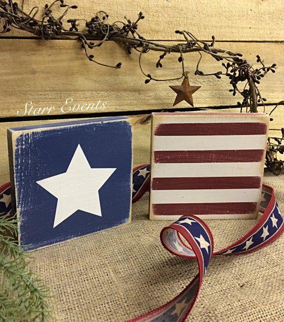 Rustic Americana decor. American flag sign. Set of 2 4th of July signs. Rustic decor. Rustic signs. Fourth of July decor. Memorial day decor