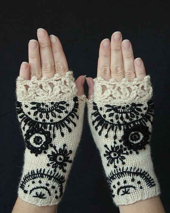 Fingerlose Handschuhe, Ornament, Elfenbein, schwarz, Handschuhe & Fäustlinge, Geschenk-Ideen für ihr Winter-Zubehör, Fashion, Accessoires, Herbst gestrickt