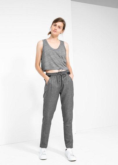 Kurzes top mit tiefer tasche - T-shirts für Damen | MANGO Outlet Deutschland