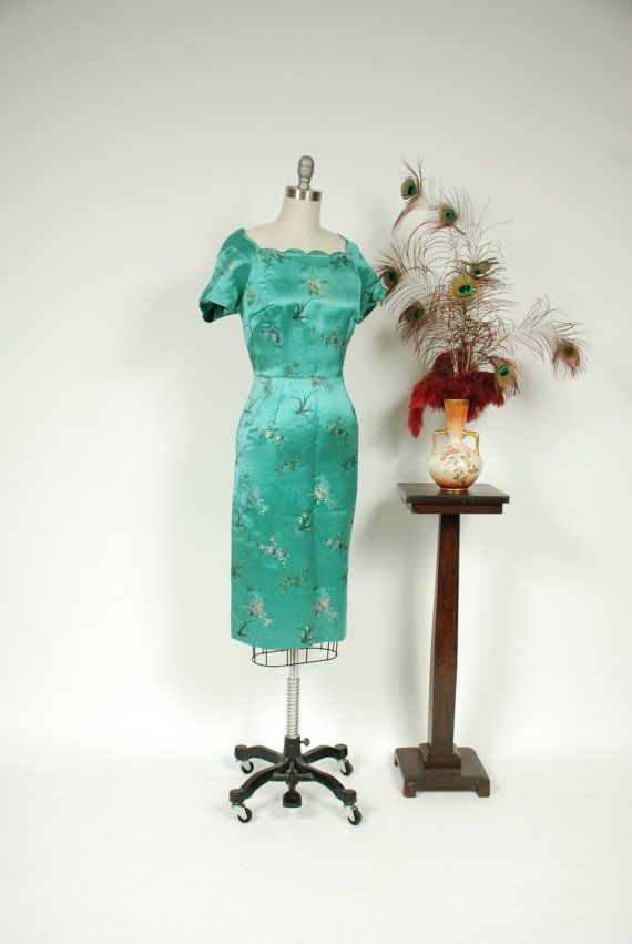 1950s Vintage Dress -  Saucy Aqua Green Silk Brocade 50s Curve Hugging Cocktail Dress