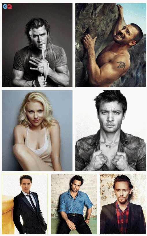 Sexxxy Avengers & Loki.  Men: The arms and smoldering stares.  Scarlett Johansen: I'm jealous of her hair and the fact she's surrounded by hot guys.