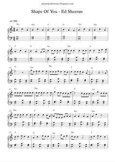 Free piano sheet music: Shape Of You-Ed Sheeran.pdf Your love was handmade for somebody like me The club isn't t... #VideoPianoLessons