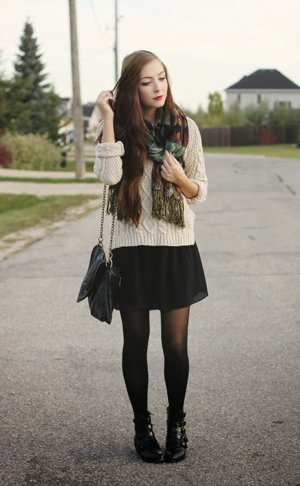 and Black sweaters pantyhose