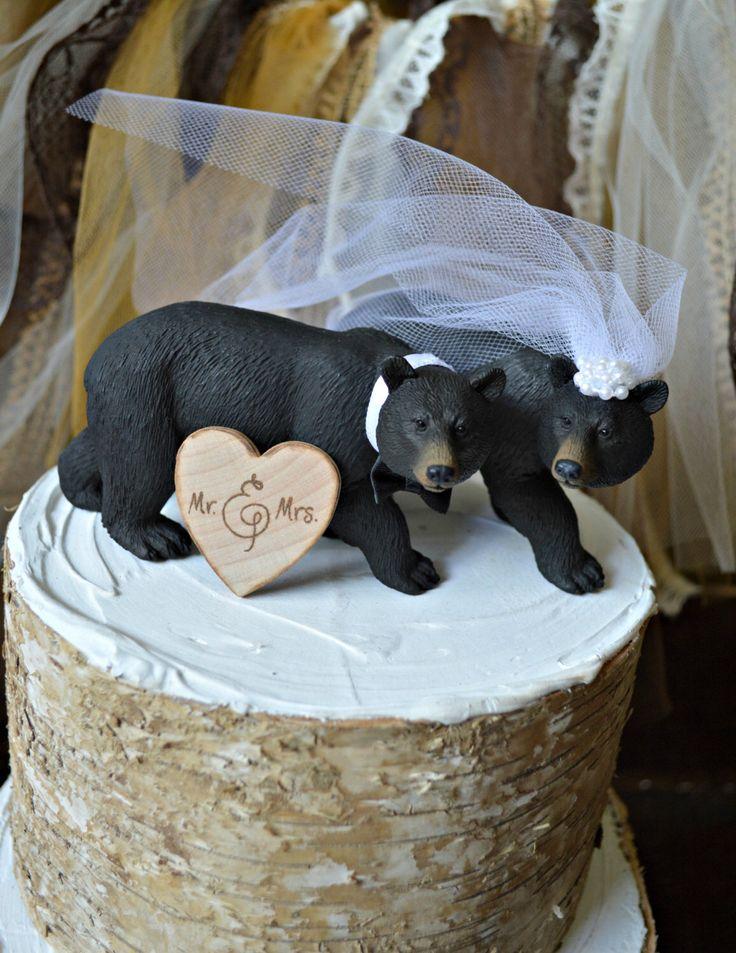 Black Bear Wedding Cake Topper-Bear Cake Topper-Hunting Cake Topper by MorganTheCreator on Etsy https://www.etsy.com/listing/109825772/black-bear-wedding-cake-topper-bear-cake