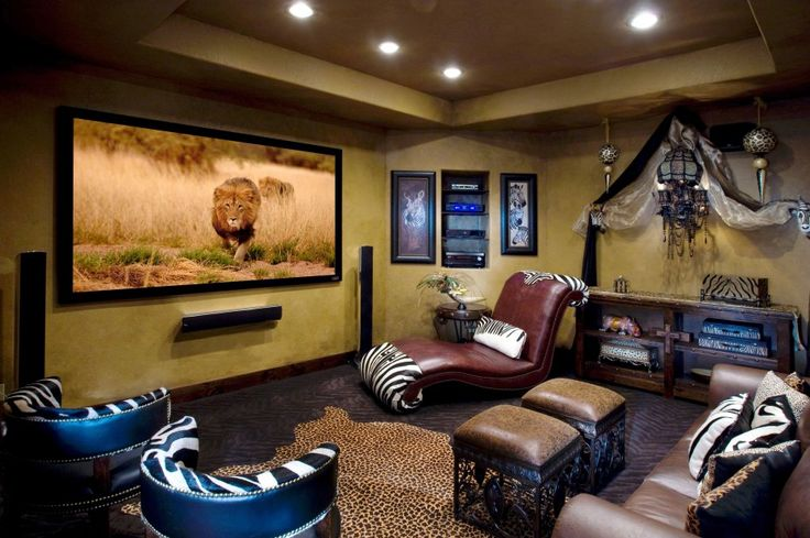Jungle Theme Small Home Theater With Brown Leather Chaise Lounge Chair And Black Wide Screen Tv On Yellow Painted Wall As Well As Home Theater Basement Plus Home Theater Rooms, Remodeling Your Unused Space For Small Home Theater Idea To Get Relaxation In Your House: Interior Ideas