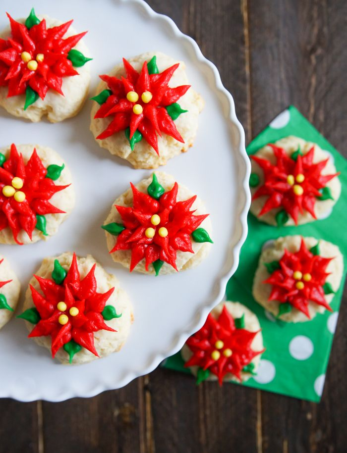 Sour Cream Pound Cake Poinsettia Cookies decorated with store-bought icing! | bakeat350.blogspot.com