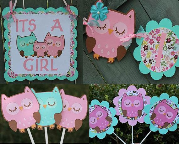 Pink and Aqua Owl Themed Its A Girl Baby Shower Party Package on Etsy, $61.50