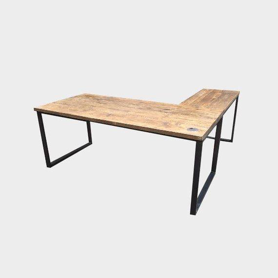 L Shape Corner Desk Handmade Rustic Industrial Style Etsy In 2020 L Shaped Corner Desk Industrial Style Furniture Industrial Style Desk