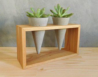 Mini-floreiras de concreto e base de madeira.