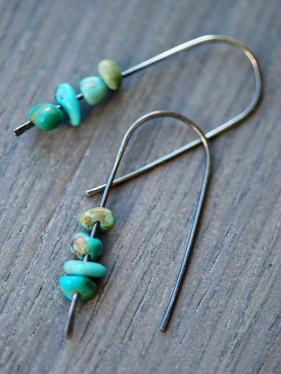 turquoise earrings in oxidized silver. handmade earrings.  minimalist jewelry.  modern jewelry. rustic jewelry on Etsy, $28.00