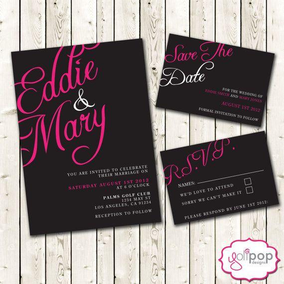 Custom (printable) digital name wedding invitation SET, RSVP and Save the Date, pink and black. $30.00, via Etsy.