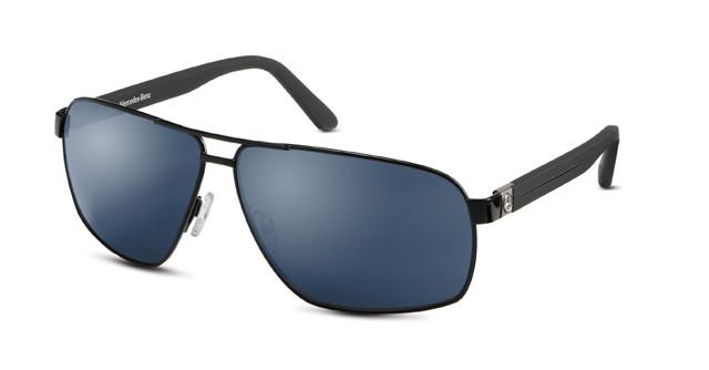 Sunglasses, Unisex black / blue, metal B66955152  Black/blue sunglasses. Metal. Aviator design. Black metal frame. Blue tinted lenses. UV 400 protection. 3D star logo on arms. Supplied in black leather-effect case featuring Mercedesβ-Benz star logo. Made by Rodenstock for Mercedes-Benz.