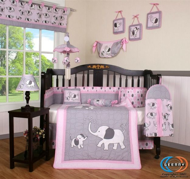 Adorable pink and grey elephant crib bedding set