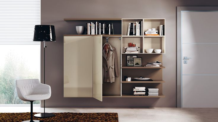 Wallmounted composition ideal for an entrance hall as well as a living area, complete with coat cupboards, shelves and open wall units | #Design